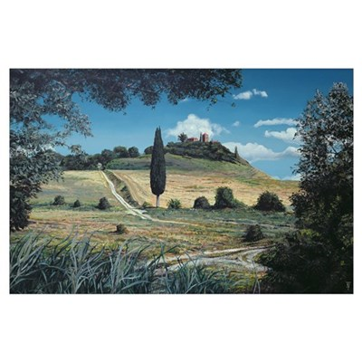 Lollipop Tree, Umbria, 1998 (oil on canvas) Poster