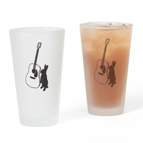 bunny & guitar Drinking Glass