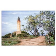 Lighthouse (oil on canvas) Poster