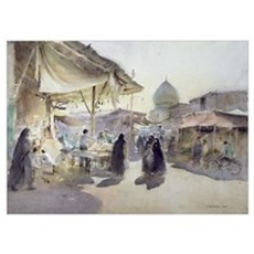 Light and Shade, Shiraz Bazaar, 1994 (w/c on paper Poster