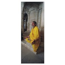 Side profile of a priest praying, Ranakpur Jain Te Framed Print