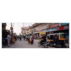 Road passing through a market, Bikaner, Rajasthan, Poster
