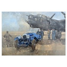 Able Mable and the Blue Lagonda (oil on canvas) Framed Print