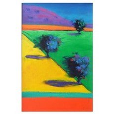 Yellow Field (acrylic on board) Poster