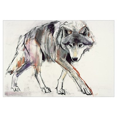Wolf (mixed media on paper) Framed Print