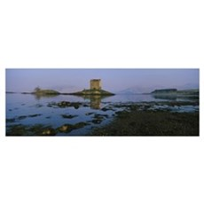 Reflection of a castle in water, Castle Stalker, H Poster