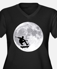 Moon skateboard Women's Plus Size V-Neck Dark T-Sh