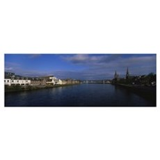 Buildings on the both sides of a river, Inverness, Poster