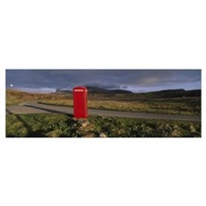 Telephone booth in a landscape, Isle of Skye, High Canvas Art