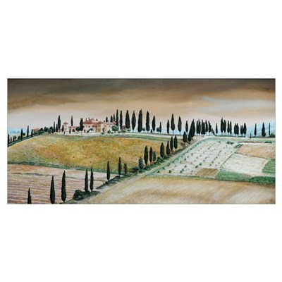 Villa on Hill, Tuscany, 2001 (oil on canvas) Poster