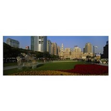Buildings in a city, People's Square, Shanghai, Ch Framed Print