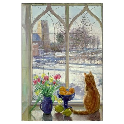 Snow Shadows and Cat Canvas Art