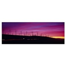 Wind turbines in a row at dusk, Palm Springs, Cali Canvas Art