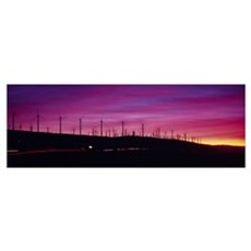 Wind turbines in a row at dusk, Palm Springs, Cali Poster