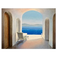 Santorini 9 (oil on board) Framed Print
