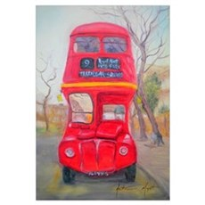 Red Bus (oil on canvas) Poster