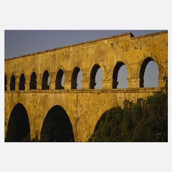 High section view of an ancient aqueduct, Pont Du