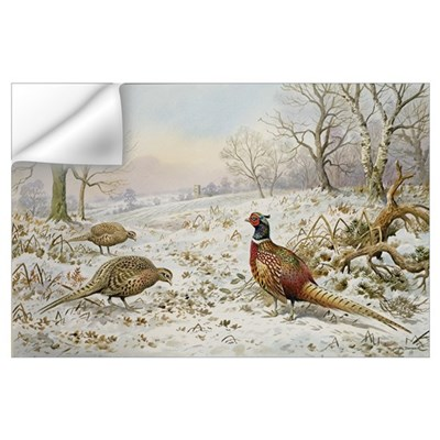 Pheasant and Partridges in a Snowy Landscape Wall Decal