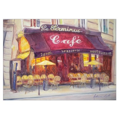 Cafe le Terminus, 2010 (oil on canvas) Poster