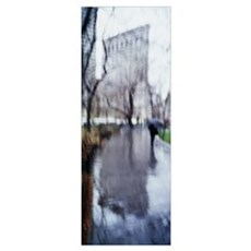 Reflection of a building on water, Flatiron Buildi Poster