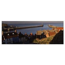 Buildings on the waterfront, Whitby Harbour, North Poster