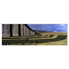 Shadow of a viaduct on a landscape, Ribblehead Via Poster