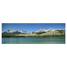 Mountains along a lake, Sawtooth Mountains, Idaho Poster