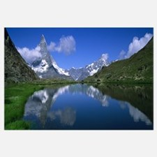Reflection of mountains in water, Riffelsee, Matte