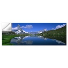 Reflection of mountains in water, Riffelsee, Matte Wall Decal