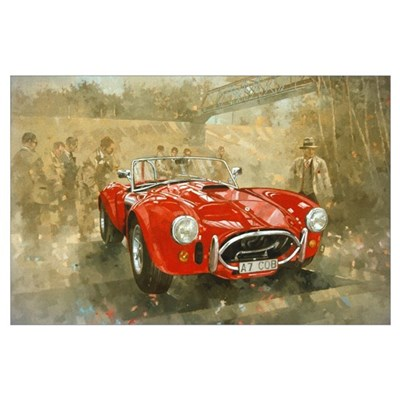 Cobra at Brooklands (oil on canvas) Poster