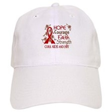 Hope Courage Faith AIDS Baseball Cap