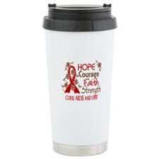 Hope Courage Faith AIDS Travel Coffee Mug