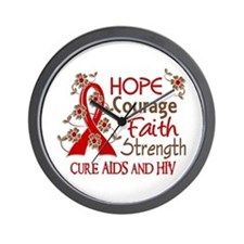 Hope Courage Faith AIDS Wall Clock