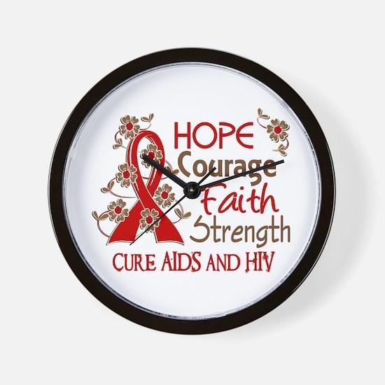 Hope Courage Faith AIDS Wall Clock