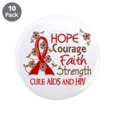 "Hope Courage Faith AIDS 3.5"" Button (10 pack)"