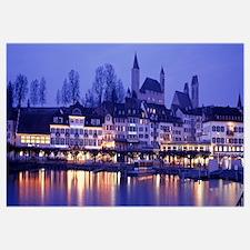 Switzerland, Rapperswil, Lake Zurich, evening