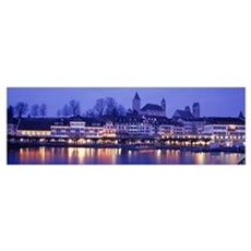 Switzerland, Rapperswil, Lake Zurich, evening Poster