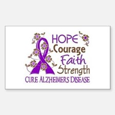 Hope Courage Faith Alzheimers Sticker (Rectangle)