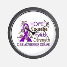Hope Courage Faith Alzheimers Wall Clock