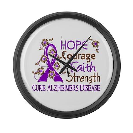 Hope Courage Faith Alzheimers Large Wall Clock
