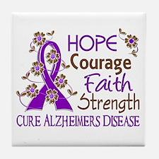 Hope Courage Faith Alzheimers Tile Coaster