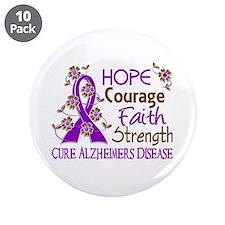 "Hope Courage Faith Alzheimers 3.5"" Button (10 pack"