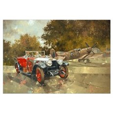 Ghost and Spitfire (oil on canvas) Framed Print