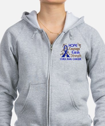 Hope Courage Faith Anal Cancer Zip Hoodie