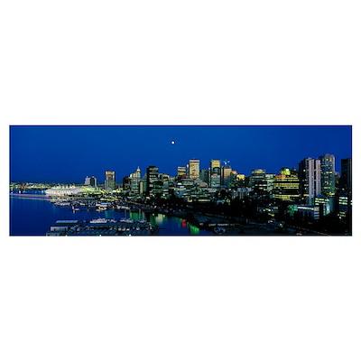 Evening skyline Vancouver British Columbia Canada Poster