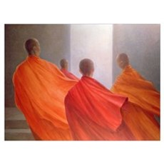 Four Monks on Temple Steps (oil on canvas) Poster
