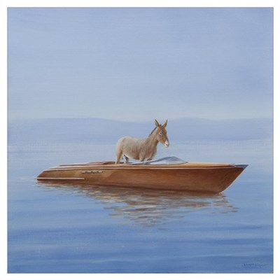 Donkey in a Riva, 2010 (acrylic on canvas) Poster
