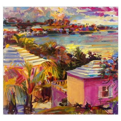 Dusk Reflections, Bermuda, 2011 (oil on canvas) Framed Print