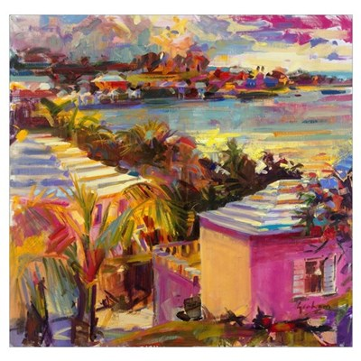 Dusk Reflections, Bermuda, 2011 (oil on canvas) Poster