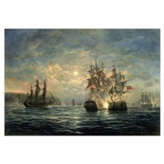 Engagement Between the Bonhomme Richard and the Se Framed Print